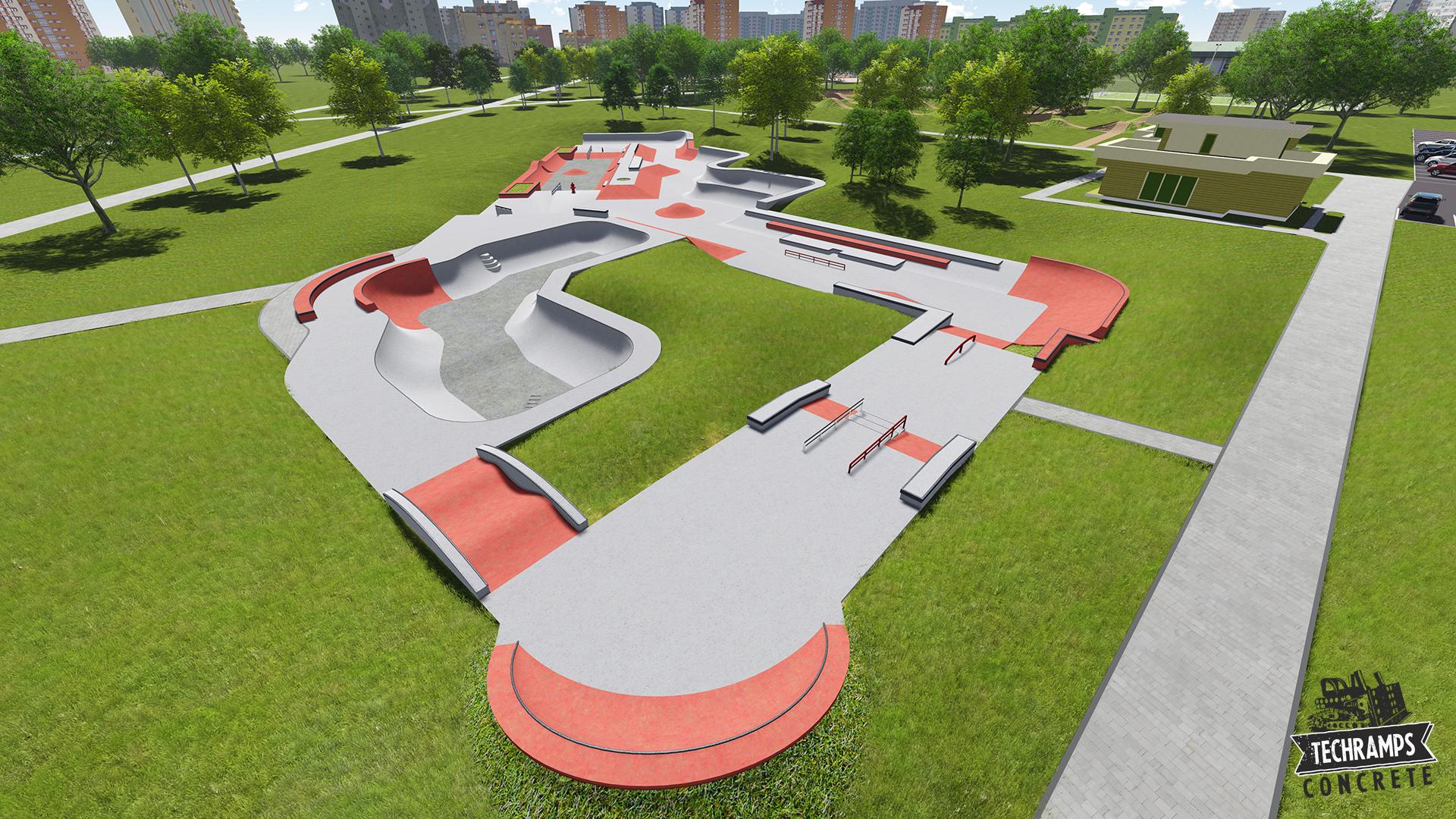 Skatepark betonowy Techramps - Moskwa