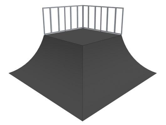 2x Quarter pipe 90deg pyramid