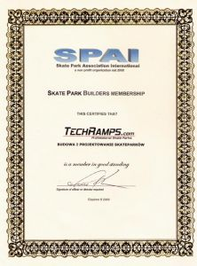 Certyfikat wydany dla Techramps przez SPAI - Skate Park Association International