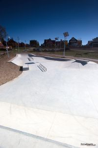 Concrete surface and obstacles in skatepark in Maniowy