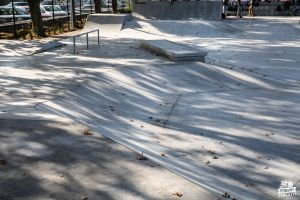 Concrete surface and obstacles in skatepark in Naklo nad Notecią