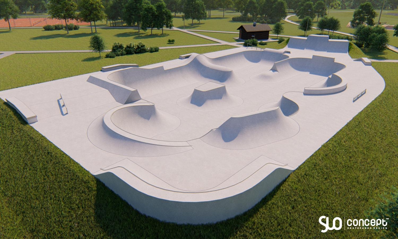 Render Skateparku betonowego w Słomnikach - wykonawca projektu Slo Concept