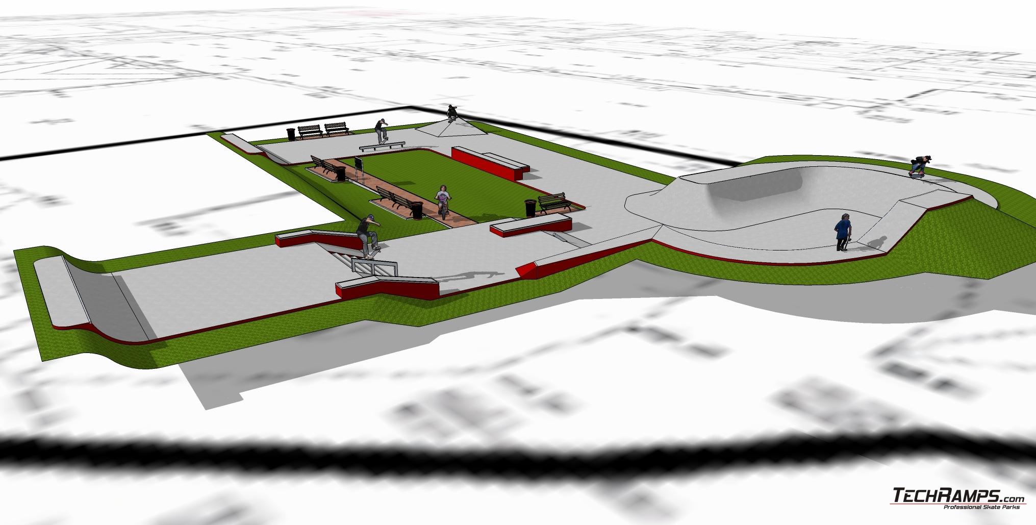 Betonowy skatepark w Opolu - projekt Techramps