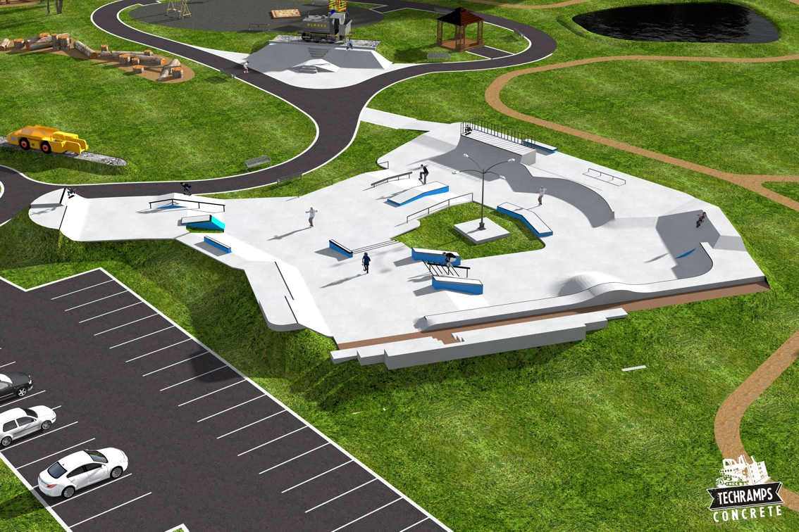 Wizualizacja projektu skateparku Techramps - Olkusz