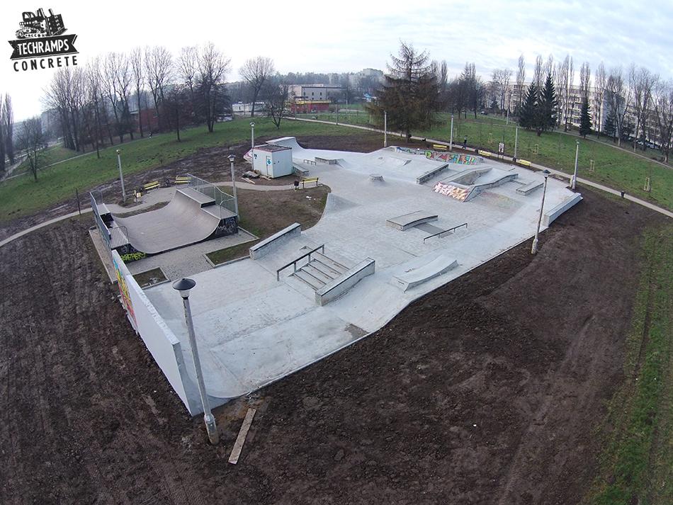 Skatepark betonowy Mistrzejowice - po rozbudowie