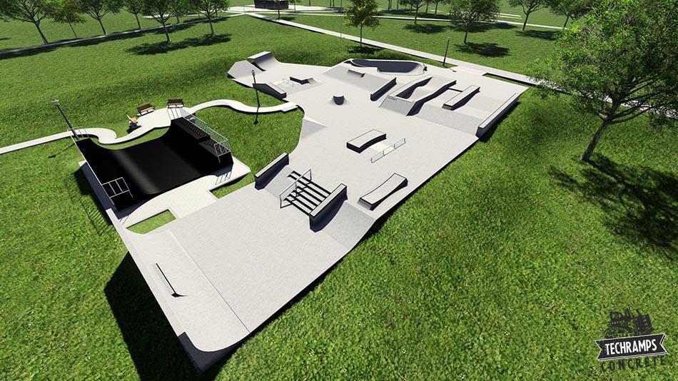 Koncepcja rozbudowy skateparku w Mistrzejowicach Techramps