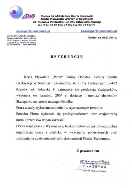 Nowiny - Skatepark - referencje