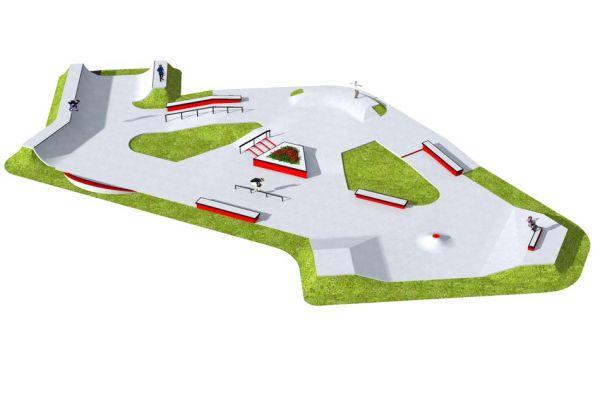 Przykładowy betonowy skatepark - 680313