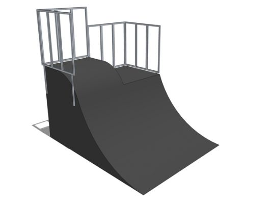 Quarter pipe + roll-in