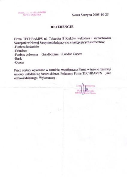 Referecje - Nowa Sarzyna
