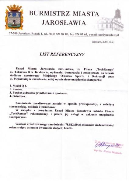 Referencje od Burmistrza Jarosławia