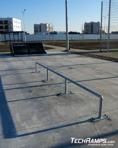 Straight rail on skatepark in Szamotuly