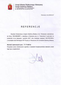 Warszawa Bielany skatepark - referencje