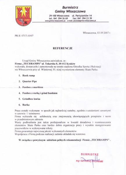 Włoszczowa Skatepark -referencje